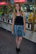 black Top Shop t-shirt - blue H&M Trend skirt - black Report Signature shoes