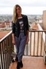 Black-zara-shoes-american-apparel-pants-white-zara-t-shirt-black-christian