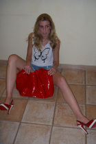 red Christian Louboutin shoes - red chanel bag accessories - blue Forever21 jean