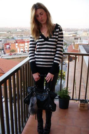 black Fridays Project sweater - black Zara pants - black balenciaga purse