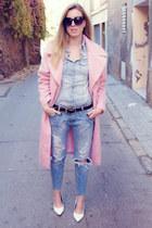 asos coat - Mango jeans - River Island heels