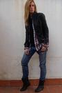 Black-zara-jacket-black-zara-shoes-blue-current-eliot-jeans-red-zara-shirt