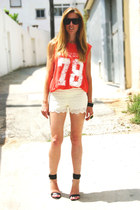Zara shorts - Zara t-shirt - Mango heels - house of harlow ring