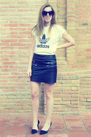 Zara skirt - Adidas t-shirt - Zara heels
