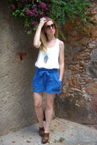 blue H&M the garden collection shorts - brown Zara clogs shoes