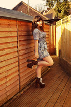 blue evil twin cardigan - dark brown UNIF shoes - sky blue vintage shorts