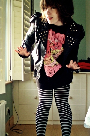 black jacket - black Drop Dead sweater - black Accessorize tights
