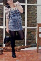 blue H&M dress - white H&M shirt - blue Topshop accessories - black Office shoes