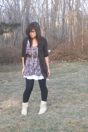 brown American Eagle cardigan - beige unknown brand boots - brown Forever 21 bel