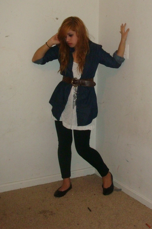 blue random brand shirt - white Forever 21 shirt - brown Forever 21 belt
