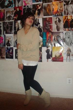 beige Tommy Hilfiger sweater - beige Aldo boots