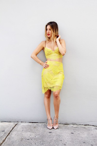 yellow lace skirt - yellow lace top