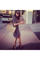 neutral classic chanel Chanel bag - gray shirt dress Alexander Wang dress