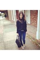 black knit Helmut Lang sweater - silver Karl Lagerfeld flats