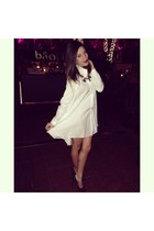 ivory Carven dress - pumps Christian Louboutin shoes