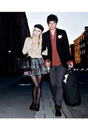 Hattbaren hat - whyred sweater - whyred skirt - Sandqvist purse