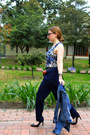 Blue-ragged-shirt-navy-mango-pants-black-mango-heels