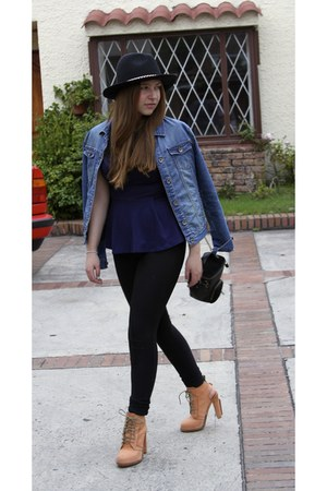 black Zara hat - navy Topshop shirt - black Kipling bag
