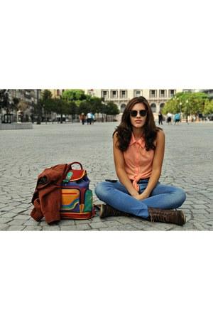 asos top - Zara jeans - vintage unknown brand jacket