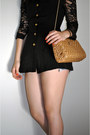 Black-lace-versace-blazer-nude-chord-bag-unknown-brand-bag-teal-levis-shorts