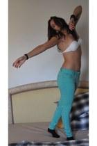 aquamarine Zara Trf jeans - white bikini Brasil Bikini top