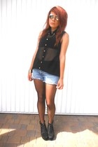 black new look shirt - light blue denim shorts DIY shorts