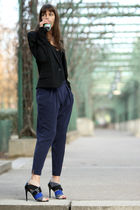 blue Theory pants - black dior homme blazer - black American Apparel top - black