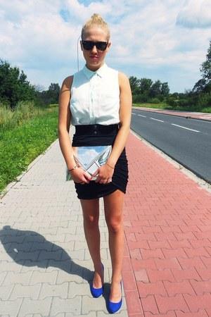 H&M bag - H&M shirt - ray-ban sunglasses - Bershka heels - H&M skirt