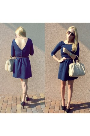 navy Stradivarius dress - nude Parfois bag