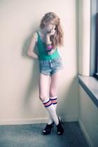 socks - shorts - green american apperal bodysuit - heels