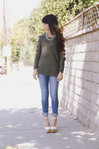 white wooden wedge wedges - sky blue jeans - olive green cut out sweater