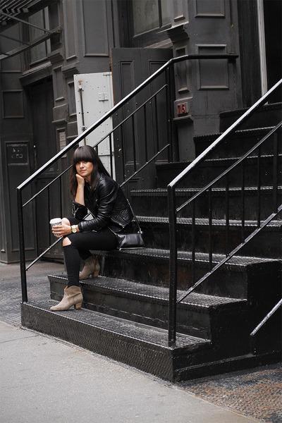 dark khaki Isabel Marant boots - black leather Zara jacket