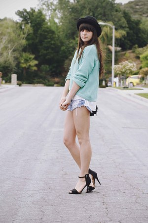turquoise blue sweater - sky blue shorts - white blouse - black heels