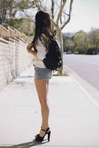 sky blue shorts - white sweater - black bag