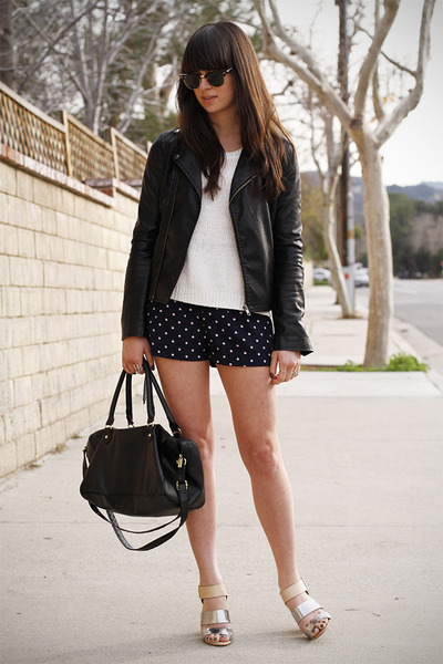 navy polka dot shorts - silver metallic heels