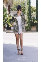 olive green camo jacket - white lace dress