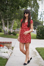 Red-floral-urban-outfitters-dress-black-chinese-laundry-flats