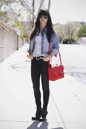 red bag - black rumi boots - dark gray jeans - sky blue jean jacket