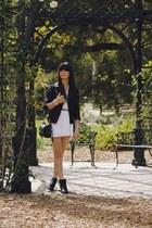 black boots - white dress - black leather jacket