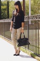 camel leopard jeans - black blouse