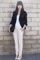 white heels - black blazer - light pink pants