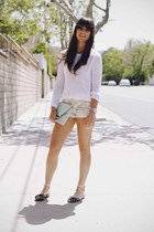 light pink floral shorts - white sweater - light blue clutch bag