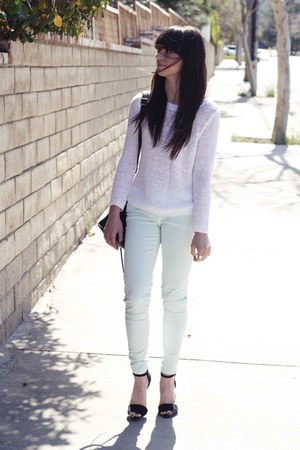 aquamarine Zara pants - white H&M sweater - black Zara heels