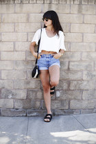 sky blue high waisted Levis shorts - white cropped For Love & Lemons top
