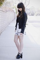 black leather jacket - white floral skirt - black Millau t-shirt
