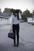 heather gray turtle neck sweater - black jeans