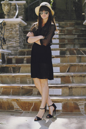 black sheer blouse - black sheer skirt - black heels