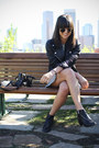 Black-ankle-boots-acne-boots-white-checkered-the-reformation-dress