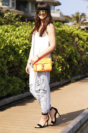 carrot orange bag - sky blue destroyed jeans - turquoise blue sunglasses