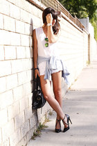 white muscle tee t-shirt - light blue denim shirt - white lace shorts